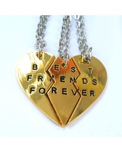 Heart BFF Necklaces Best Friends Forever Set for 3
