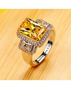Engraved 3 Carat Yellow Diamond Engagement Ring for Her
