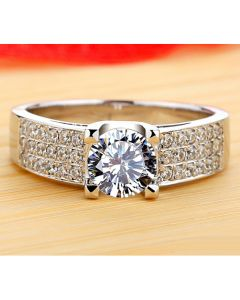 Engraved 1 Carat Diamond Ring for Her Pt Plated Silver