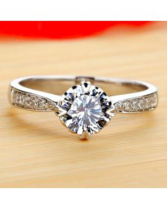 1 Ct Diamond Anniversary Ring for Her 18K White Gold Plated