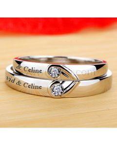 0.05 Ct Diamond Engagement Bands for Couples Platinum Plated Silver