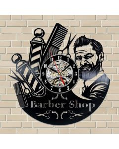 Personalized Gift for Barber Vinyl Record Clock