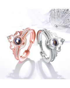 Light Projection Couple Promise Rings Set for Two
