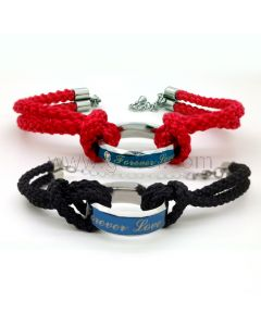 Engravable His and Hers Friendship Bracelet Set for Two