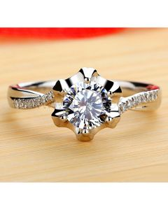 Engraved Diamond Wedding Ring for Her Gold Plated Silver