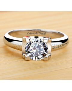18K Gold Plated Diamond Engagement Ring for Her