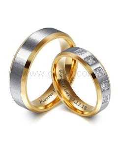 Custom Titanium Wedding Rings Set for Him and Her 6mm
