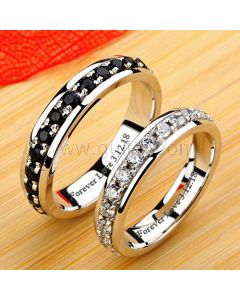 Couples Diamond Wedding Bands with Personalized Names