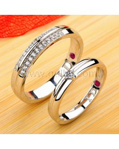 Engraved Ruby and Diamond Couples Engagement Rings Set for 2