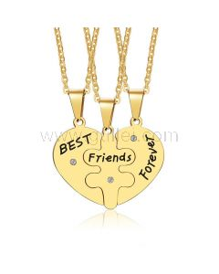 Matching Hearts 3 Piece Bff Necklaces Gift Set