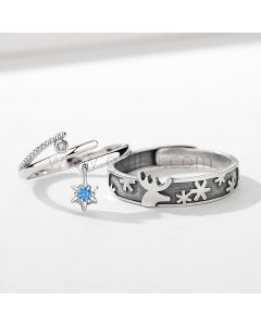 Promise Rings Birthday Gifts Set for Couples (Adjustable Size)