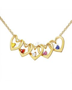 Personalized Heart Birthstone Necklace for Her