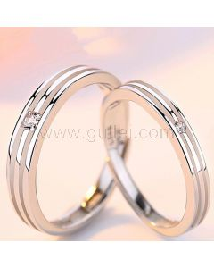 Personalized Matching Silver Engagement Rings Set