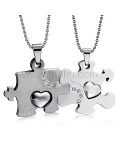 Matching Relationship Puzzle Necklaces Jewelry Gift for 2