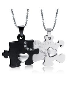 Engraved Relationship Interlocking Couples Pendants Necklaces for 2