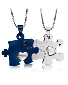 Personalized Jigsaw Puzzle His and Hers Necklaces Set for 2