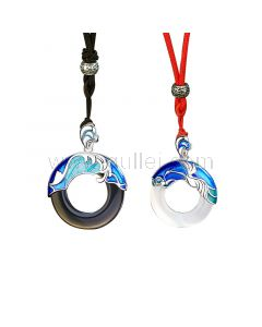 Ocean Waves Matching Couple Necklaces Gift Set