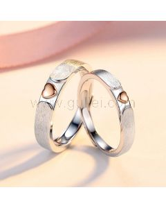 Matching Hearts Best Friends Couple Rings Set