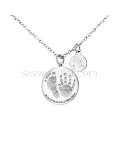 Custom Baby Footprint Pendant Necklace for Mom