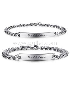 Personalized Names Engraved Couple Bracelets Set for 2