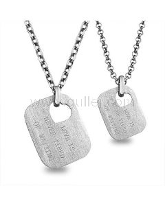 Names Tag Engraved Matching Couple Necklaces Gift for 2