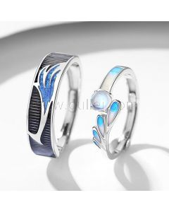 Personalized Sterling Silver Couple Rings Set