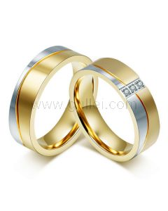 Mens and Women Titanium Wedding Rings Set for Two