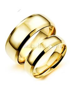 Outside Engraved Matching Titanium Simple Wedding Rings