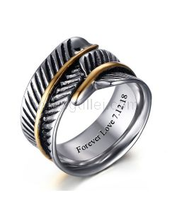 Personalized Feather Mens Ring Polished Titanium 10mm