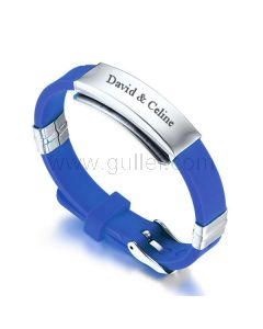 Engraved Mens Promise Silicone Wristband Blue