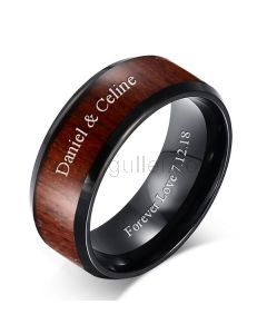 Custom Engraved Mens Wedding Band Tungsten and Wood 8mm