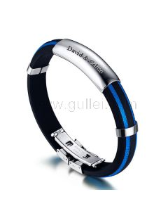 Engravable Great Wall Pattern Mens Bracelet Silicone Stainless Steel