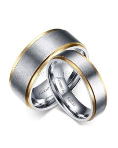Personalized Names Gold Plated Titanium Weddings Bands