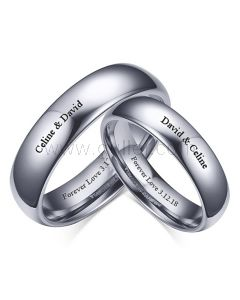 Engraved Matching Tungsten Weddings Bands Set for 2