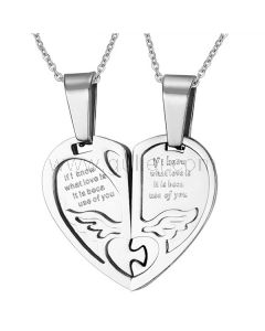 Personalized Engraved 2 hearts Titanium Pendants for Lovers