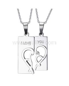 Custom Engraved Matching Half Hearts Promise Necklaces Set
