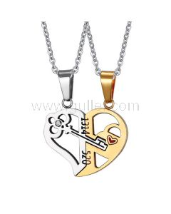 2 Connecting Half Hearts Pendants with Custom Names