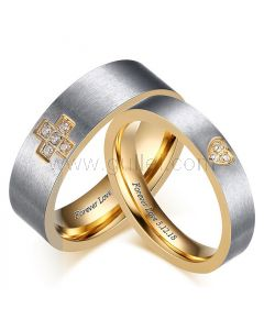 Custom His and Hers Titanium Wedding Rings for 2