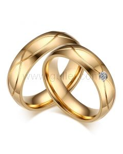 18K Gold Plated Titanium Engravable Rings Set for 2
