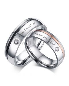 Personalized Engraved Matching Promise Rings Set 6mm