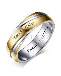 Personalized Mens Wedding Band 6mm Gold Plated Titanium