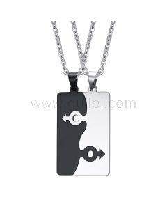 Custom Engraved Connecting Relationship Necklaces for Couples