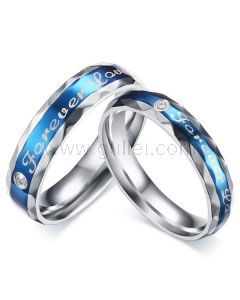 Personalized Forever Love Titanium Promise Rings Set