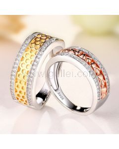 Gold Plated Silver Engagement Rings Set for 2 with Engraving