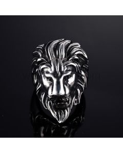Lion Mens Ring with Custom Engraving 36mm Stainless Steel