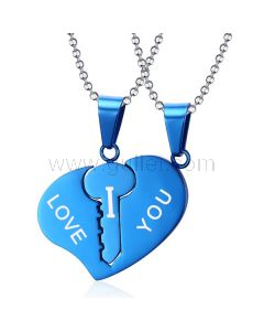 Heart Key Matching Connecting Pendants Set for Soulmates