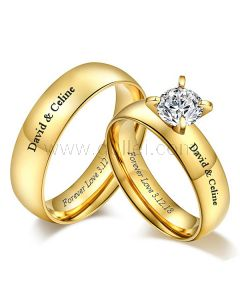 Gold Plated Engraved Couple Wedding Rings Titanium