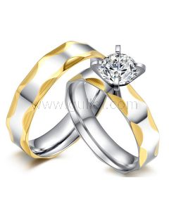 Engraved Bride and Groom Wedding Rings Set for 2