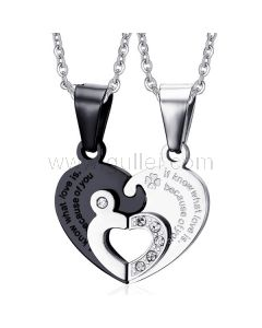 Two Connecting Hearts Soulmates Pendants with Custom Engraving
