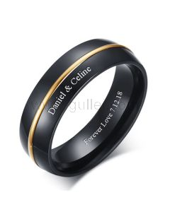 Personalized Promise Ring for Men 6mm Gold Plated Titanium